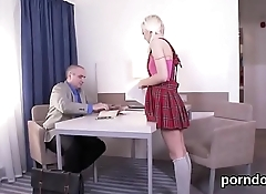 Natural college girl is teased and reamed by her senior instructor