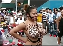 Girl Show Her Big Boobs &amp_ Nude Body Painting