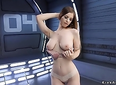 Natural busty blonde gets anal fucking machine