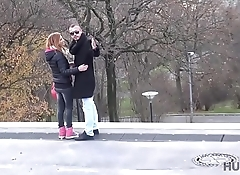 HUNT4K. Red girl likes sex for money in front of her bf