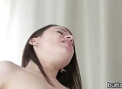 Striking petite kitten gets her wet snatch and small butthole pounded