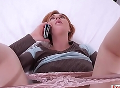 I fucked my redhead stepmom while she was on the phone