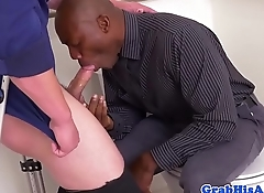Hung black stud assfucked in office toilet