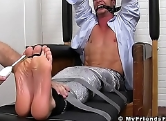 Sergey gets his entire body tickled and his feet licked by a lover