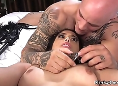 Tied up in bed brunette gets fucked