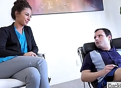 Poor husband watches as his wife is getting banged by their therapist