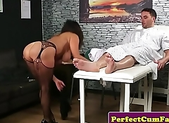 Busty british mature sucking and tugging cock