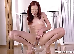 Pussy Pissing - Redhead Marketa tastes her piss in solo watersports video