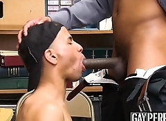 Raw fucked chocolate thief gets fingered while cumming