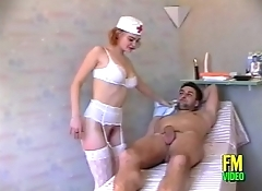 Sexy french nurse comes in rescue of a patient with a blowjob
