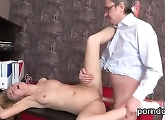 Sweet college girl gets seduced and penetrated by her older teacher