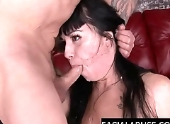 Nasty brunette slut takes a brutal throat fuck