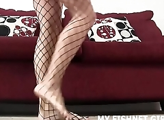Let me stroke your big cock for you in my sexy fishnets JOI