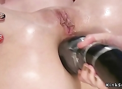 Huge black dildo in blondes asshole