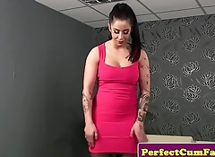 Busty english babe sucks then swallows cum