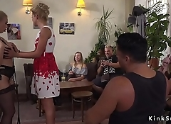 Humiliated blonde slave anal banged in public