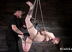 Tied up slave whipped to red skin